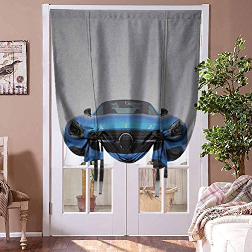 Blackout Shades Teen Room Thermal Insulated Tie Up Window Blind Modern Blue Sports Car Power Prestige Speed Fast Vehicle Automobile Image Home Fashion Window Treatment Rod Pocket Panel, 36