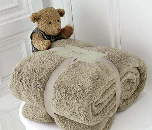 Hachette Teddy-Fleece-Überwurf, Decke, weich, warm, Überwurf über Sofa, Bett, Reise, Tagesdecke, Decke (Nerz, King - 200 x 240 cm)