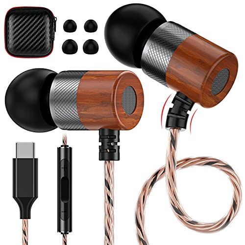 Wood USB C Earphones, Jelanry USB C Earbuds Wired with Mic Noise Isolation Volume Control in-Ear Wooden Headphone for Samsung Galaxy S20 FE 5G S21 5G Note 20 Ultra Note 10,OnePlus 9 Pro 8T 7T,Pixel