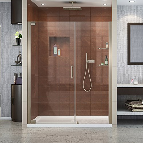 DreamLine Elegance 58-60 in. W x 72 in. H Frameless Pivot Shower Door in Brushed Nickel, SHDR-4158720-04