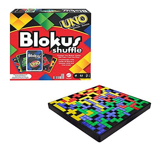Mattel Games-GXV91 Mesa UNO Blokus Shuffle Inspirada en Juego de Cartas, Juguete para niños +7 años, Multicolor (GXV91)