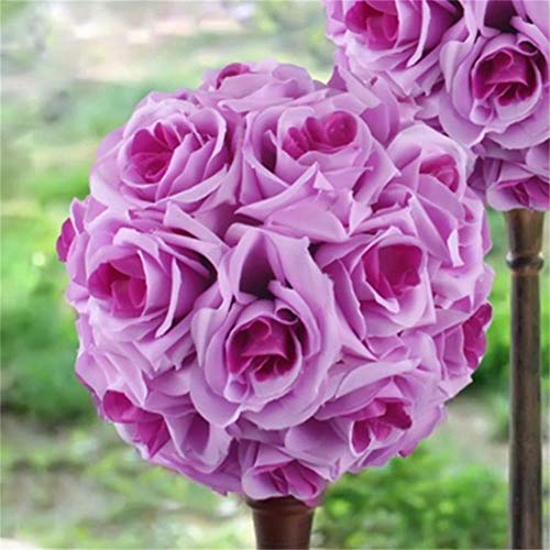 LIMMC 1Pcs 15cm Fiori di Seta Artificiale Rose Kissing Ball Bouquet Bouquet Pomander Party Centrotavola Decorazioni per centrotavola, Viola