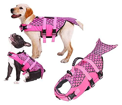 M3 Decorium Dog Life Jacket Chaleco Protección Traje de baño Rayas Reflectantes Ropa de baño Ajustable Traje de baño Lifesaver Chalecos con asa de Rescate (Color : S)