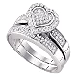 Sonia Jewels Size 10 - .925 Sterling Silver Diamond Ladies Bridal Engagement Ring with Matching Wedding Band Two 2 Ring Set - Heart Shape Center Setting w/Micro Pave Set Round Diamonds - (2/5 cttw)
