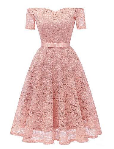 YFLTZ Frauen Arbeiten dünnes Hüllen-Kleid Schatz-Ausschnitt, errötendes Rosa, L