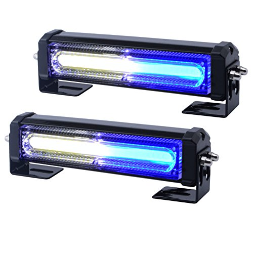 WOWTOU Emergency Blue White Grille Strobe Light Head, Surface Mount 16W Bright Linear LED Mini Warning Lightbar for Voluteer Firefighter EMS Vehicle POV