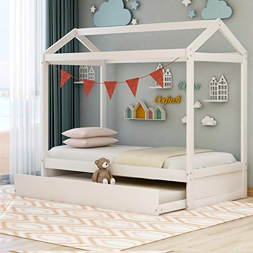 Twin Daybed with Trundle, Wood Twin Size House Bed/Toddler Bed for Kids, Bedroom...