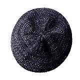 SOIMISS Sombrero de paja hueca para el verano tejido francés boina boina de arte sombrero viaje playa sombrero Negro M/L