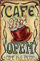 カフェオープン来て、ブリキの看板をお楽しみくださいヴィンテージ面白い生き物鉄の絵金属板パーソナリティノベルティ