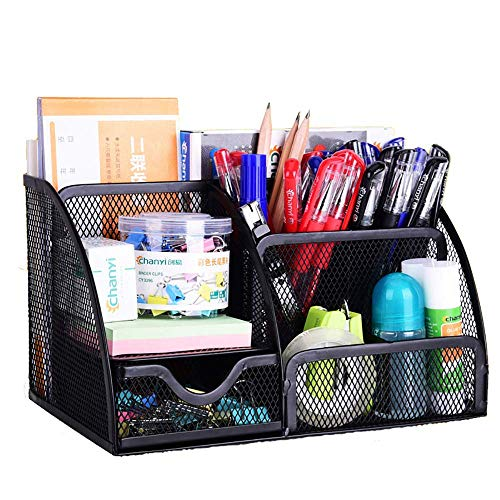 VANRA Office Supply Caddy Mesh Desk Organizer School Supply Holder 6 Compartments with Drawer (Black)