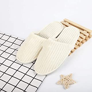 Disposable Slippers, 10 Pairs Hotel Slippers Disposable Eva Non-Slip Slippers Coral Fleece Slippers Guest Hospitality Slippers,Beige