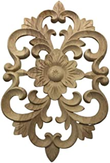 Vosarea Wooden Carved Onlay Applique Unpainted Wood Corner Carving Applique Frame Furniture Cabinet Home Decor 30 x 19cm