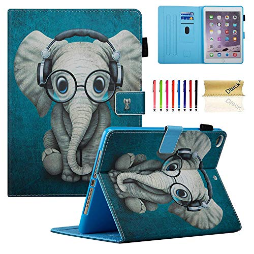 New iPad 9.7 Case (2018/2017), iPad Air 1 2 Case, Dteck Premium Leather Slim Folio Multi-Angle Viewing Stand Smart Shell Auto Sleep Wake Book Cover for Apple iPad 9.7 6th/5th Gen/Air 1 2, Elephant