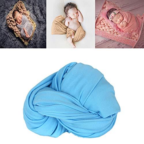 Newborn Stretch Wraps Photography Props Girl boy Baby Photo wrap Prop Swaddle Long Ripple Wraps DIY Blanket Photoshoot Basket Wrapper (5 Sky Blue)