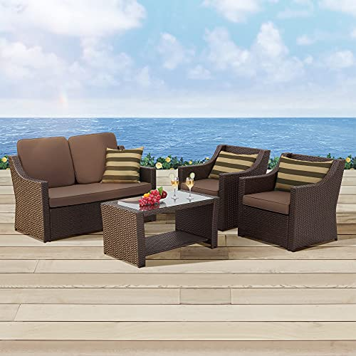 YITAHOME Patio Furniture Set, 5-Piece Waterproof Outdoor Sectional Sofa with Washable Soft Cushion, Scratch-Proof Wicker Patio Furniture with Pillows for Outdoor Garden/Balcony/Backyard, Brown