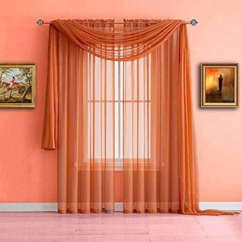 "Luxury Sheer Voile Window Treatment Rod Pocket 2 PC Curtain Elegant Panels for Bedroom Many Colors (Orange, 2 Panels: 55"" x 84"")"