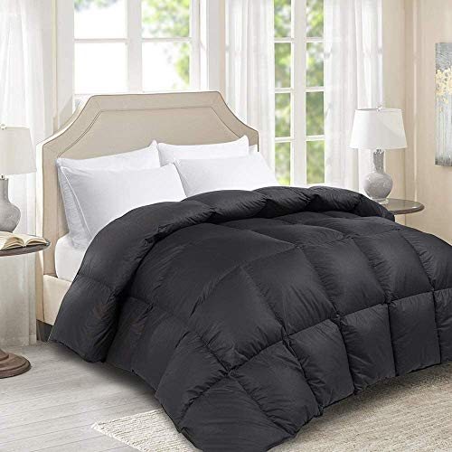 HOMBYS Luxurious King Size 106' x 90' Goose Down Comforter Duvet Insert, 100% Cotton Cover Down Proof with 8 Corner Tabs Hypo-allergenic (King, Black)