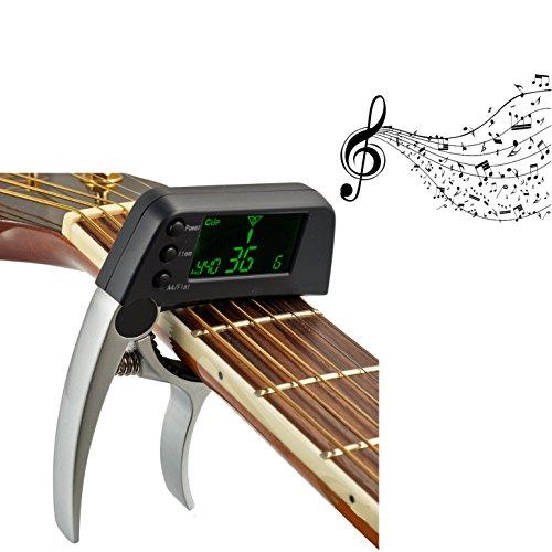 LawUza Professional Key Kapodaster Stimmgerät für Akustik E-Gitarre Bass chromatisch