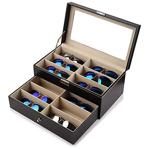 Kurtzy Sonnenbrillen Aufbewahrung Organizer Kasten - 12 Fächern Brillenkoffer mit Schloss und Schlüssel - Kunstleder Brillenbox, Brillenhalter - Display Box mit Durchsichtigem Deckel