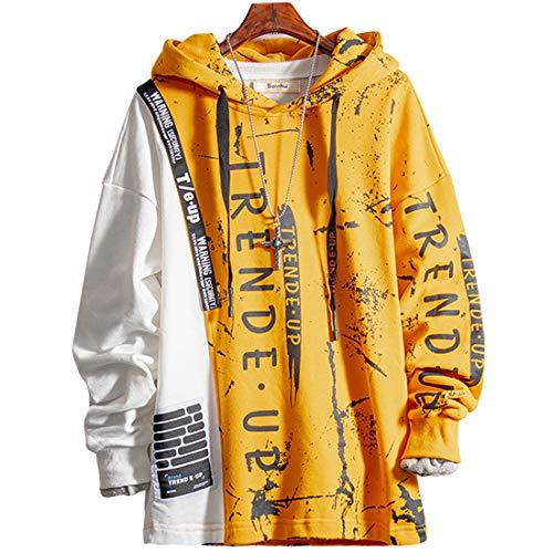 XIAOYAO Herren Kapuzenpullover Sweatjacke Pullover Hoodie Sweatshirt (Gelb, L)