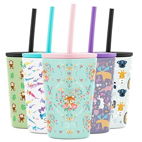 Simple Modern Kids Insulated Cup with Lid and Silicone Straw Stainless Steel Flask Metal Thermos for Toddlers Boys and Girls, 12oz Tumbler, Fox and the Flower