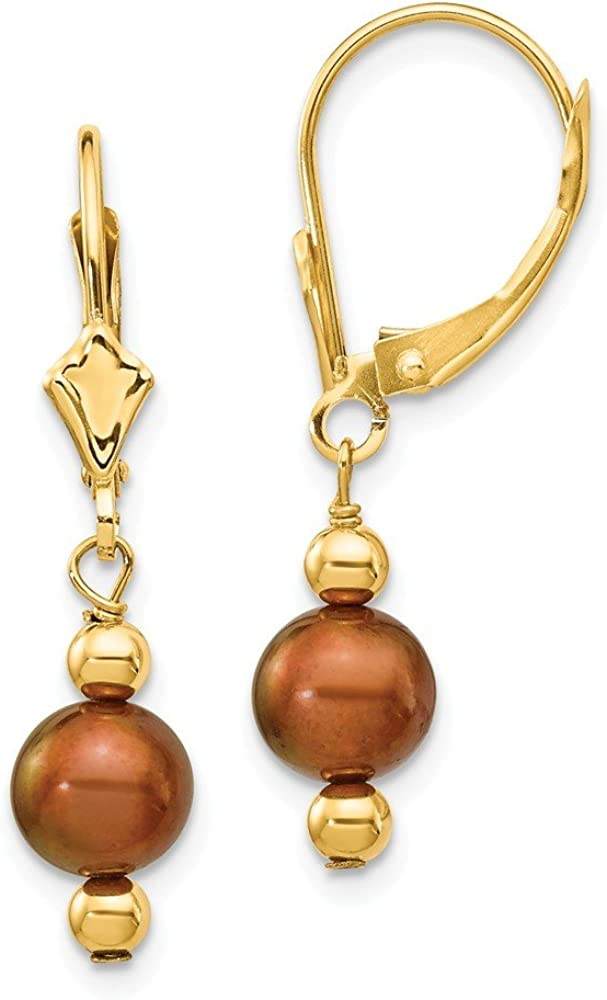 14k Yellow Gold 6mm Semi Round Coffee Brown Freshwater Cultured Pearl Leverback Earrings Lever Back Drop Dangle Fine Jewelry For Women Gifts For Her
