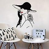 YuanMinglu Ventana Europea Etiqueta de la Pared Adhesivo de Vinilo Apliques para salón Labios Rojos Mujer Sombrero peluquería Cartel Mural decoración 53x57 cm