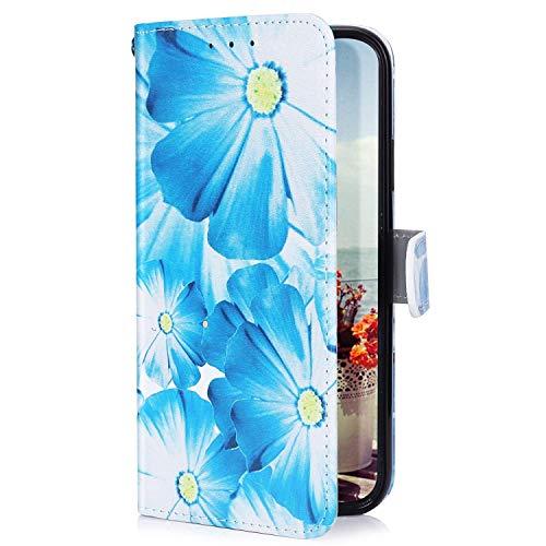 Uposao Kompatibel mit LG G7 ThinQ Hülle mit Bunt Muster Motiv Brieftasche Handyhülle Leder Schutzhülle Klappbar Wallet Tasche Flip Case Ständer Ledertasche Magnet,Blau Blumen