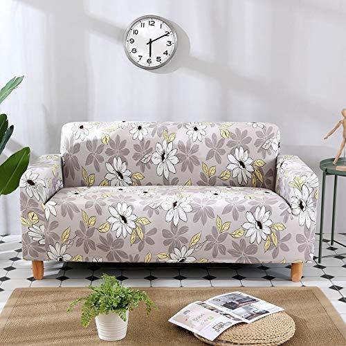 Fundas de sofá Flores y Hojas Funda elástica para sofá para Sala de Estar Funda elástica para sofá Funda Protectora para Brazos Protector Antipolvo A22 4 plazas