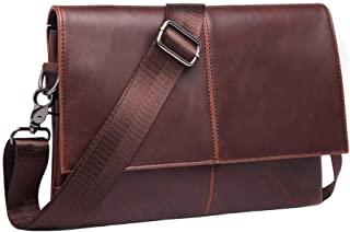 Mens Vintage Leather Messenger Bag Cross-body Casual Day Bag Women Daypack Sling Bag for Work School Travel Outdoor