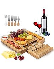 Sunix Tabla de Quesos de Bambú - Bandeja de Quesos con 4 Cuchillos, 2 Tazones de cerámica, 1 Tenedor de Acero Inoxidable, para Fiestas, Cumpleaños o Inauguración