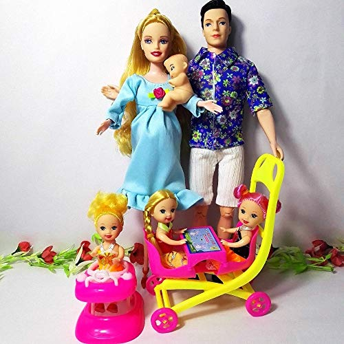 XKMY Barbie Doll Girls Toys Family 6 People Muñecas Trajes 1 Mamá/1 Papá/3 Little Kelly /1 Baby Hijo/1 Baby Walker/1 Baby Carriage para embarazada Barbie