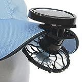 GEZICHTA Ventilador solar con clip para manos libres, panel de energía para camping, senderismo, pesca al aire libre, cuadrado