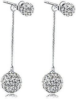 Jojckmen Long Style Round Shaped Rhinestone Earrings Alloy Ear Studs for Women