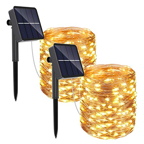 REDSTORM Catena Luminosa Solare, 2 Pacchi Luci Solari Esterno 10M 100 LED lucine Solari 8 modalità Lucine da Esterno Decorative per Esterno, Festa, Giardino, Patio, Camera da Letto, Matrimonio, Natale