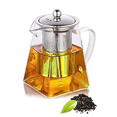 SUPANG Good Glass Teapot with Removable Stainless Steel Lid & Infuser, Square shape Glass Teapot,Stovetop Safe Tea Kettle, Blooming and Loose Leaf Tea Maker Set. (550ml)