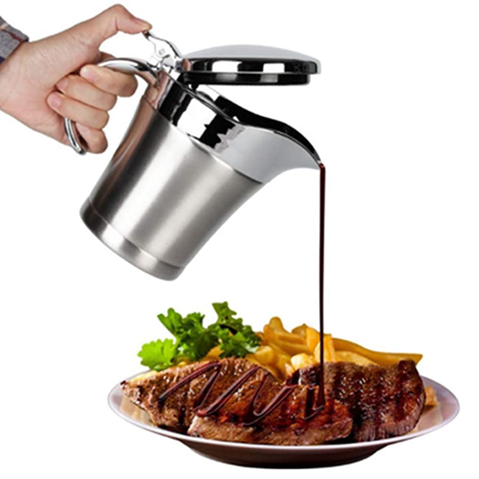 Gravy boat Stainless Steel Insulated Jug with Hinged Lid Ideal for Gravy or Cream at Thanksgiving, Stainless Steel Gravy Boat Sauce (750ML)
