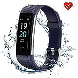 Showyoo Fitness Pulsera de Actividad Inteligente Impermeable IP68 con Pantalla Color, Reloj Inteligente Pulsómetro, Cronómetros, Monitor de Sueño Podómetro GPS Reloj Deportivo Mujeres Hombres Niños