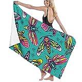 AEMAPE Toalla de Microfibra de baño de Polilla de Colores, 32 x 52 Pulgadas, Toallas de Playa para Hombres, Mujeres, baño, Toallas
