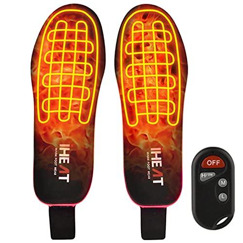 iHEAT Beheizbare Einlegesohlen,beheizbare Thermosohle mit Intelligentem Drahtlose Fernbedienung, USB Wiederaufladbar Fußwärmer für Skifahren Wandern Angeln