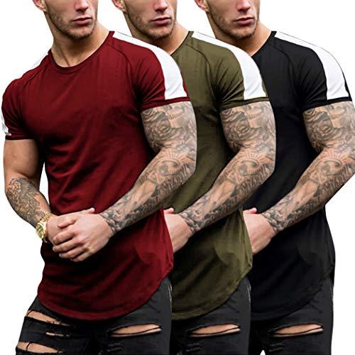 Coshow - Juego de 3 camisetas de deporte para hombre de mang