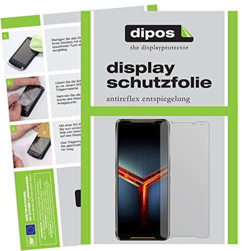 dipos I 6X Schutzfolie matt kompatibel mit Asus ROG Phone 2 Folie Bildschirmschutzfolie (bewusst Kleiner als das Glas, da Dieses gewölbt ist)