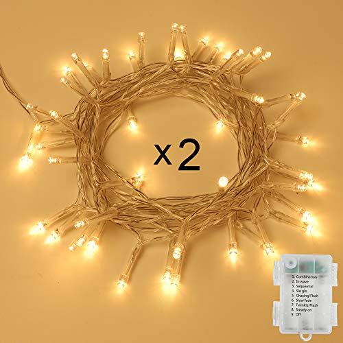 Opard 2stk 50er LED Lichterkette Batterienbetrieben mit Timer 5M 8 Modi, IP65 Wasserdicht für Innen Außen Weihnachten Zimmer Bett Hochzeit Party Schlafzimmer Weihnachtsbaum