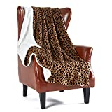 MERRYLIFE Sherpa Throw Blanket Plaid Couch   Ultra-Plush Decorative Soft Colorful   Plush Travel Chair Blanket Throws(60' 70',Leopard)