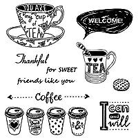 DIYスクラップブッキング用のさまざまなコーヒーカップクリアスタンプ装飾カード作り工芸品楽しい装飾用品