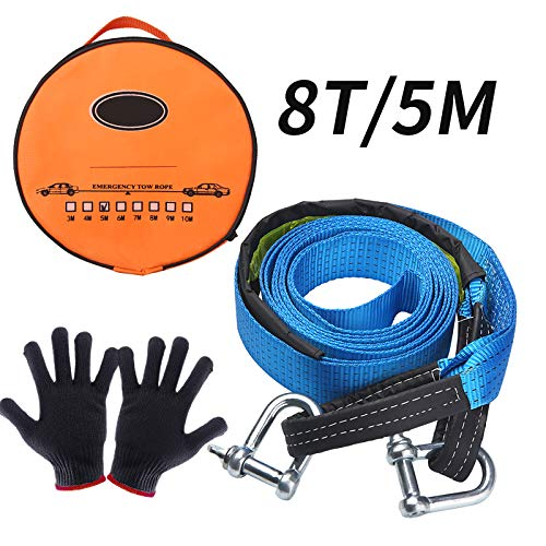 Warxin Abschleppseil Auto, KFZ Notfall-Abschleppgurt 5 cm x 5 m, 17,600 lbs - 8 Tonnen Dreifach verstärkte Schlaufenende für Sicherheit mit Rutsch Handschuhe und Aufbewahrungstasche (5M lang)