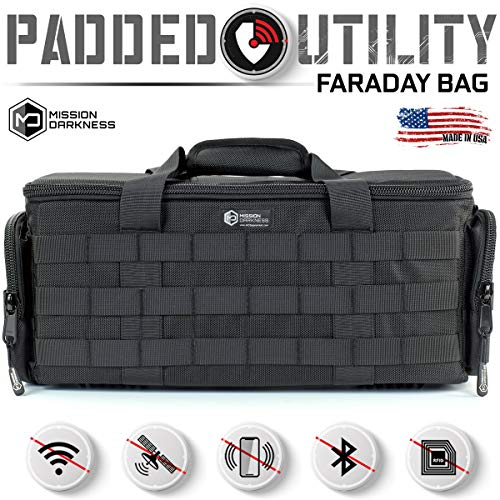 Mission Darkness Padded Utility Faraday Bag for Law Enforcement and Military/Signal Blocking/Data Privacy/EMP Protection for Night Vision Goggles, Rifle Scopes, Cameras, Optics, Phones, and More