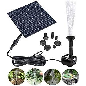 GOCHANGE Bomba de Fuente Solar, 1.2W 180L / H Bomba de Fuente de Agua de Panel Solar, Para Jardín, Piscina,Acuario…