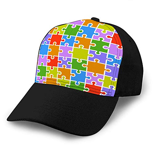 Sombrero Ajustable Gorra de béisbol con Fondo Plano Jigsaw Puzzle Piezas de Color Plantilla x Piezas Hombres Mujeres Sombrero