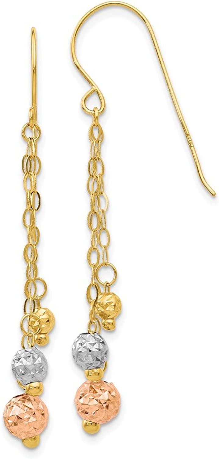 Beautiful Tri color gold 14K 14K Tricolor Strands with Diamond Cut Bead Earrings